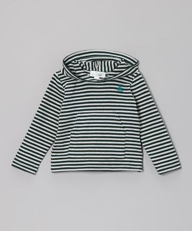 Another great find on #zulily! Green & White Stripe Ribbed Hoodie - Toddler #zulilyfinds