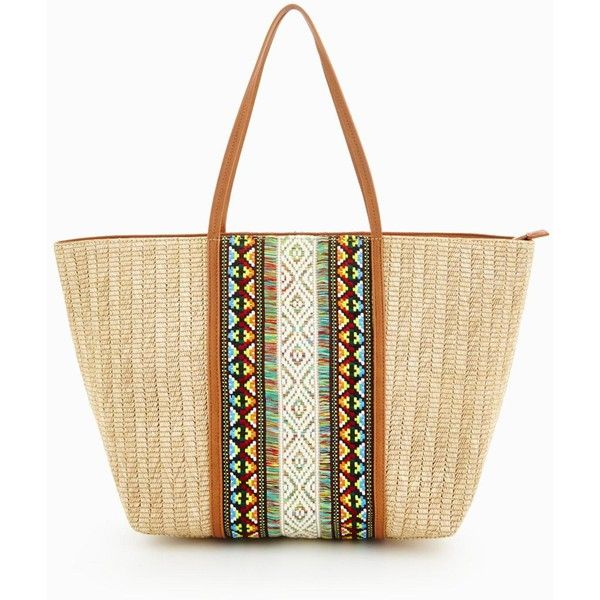 Aldo Raffia Detail Beach Tote ($63) ❤ liked on Polyvore featuring ...