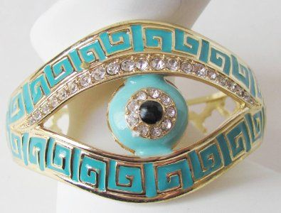 Gold Tone Polished Metal Evil Lucky Eye Cuff Bracelet with Rhinestones with an Intricate Adorned Cuff with Painted M $27.99 - Imgend
