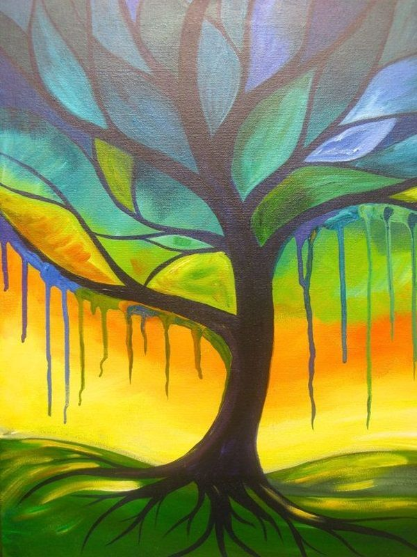 Peaceful Tree acyrlic painting with a Drips Drips by hARTpARTY. Adult coloring books are wonderful activity therapy for some  self