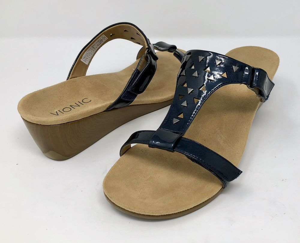19748db513fc VIONIC Orahaheel Sandals Size 11 MAGGIE Wedge Navy Blue Slide Adjustable  T-Strap  Vionic  Slides  Casual