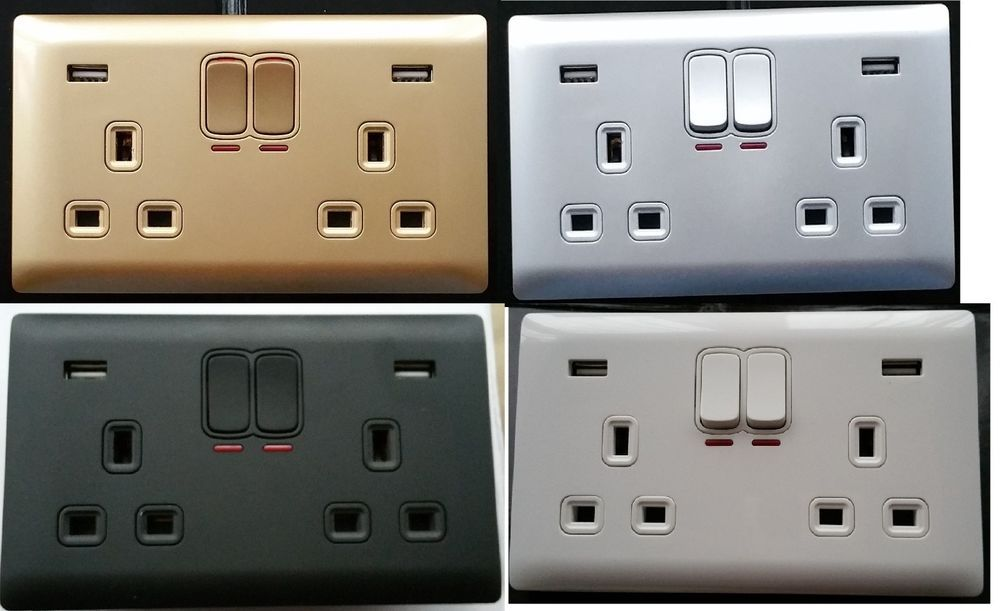 Double Gang Electrical Plug Socket With 2 Usb Outlets Electric Wall
