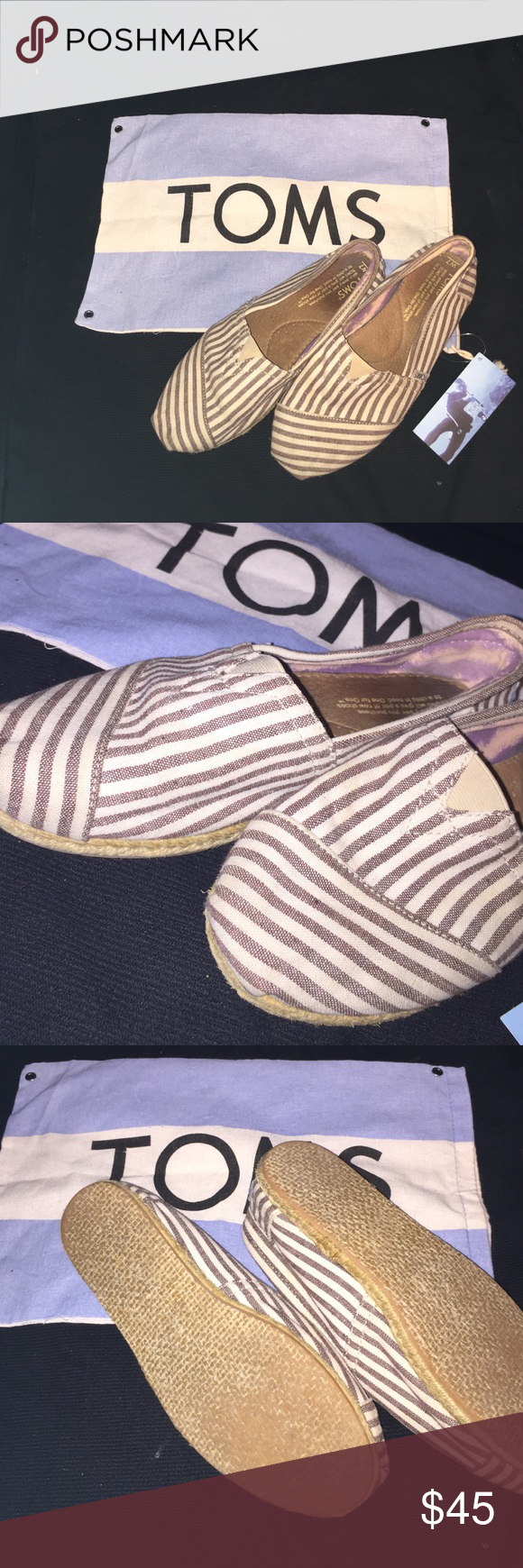 Super cute TOMS! Adorable striped white and brown TOMS! Doesn't come with the bag! But great condition! See pics ! Toms Shoes Flats & Loafers