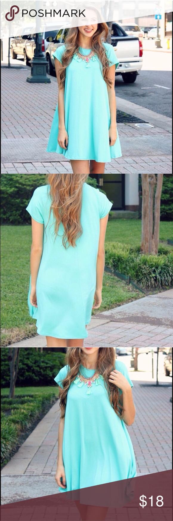 Nwot womenus short sleeve aqua tshirt dress aqua dresses dress