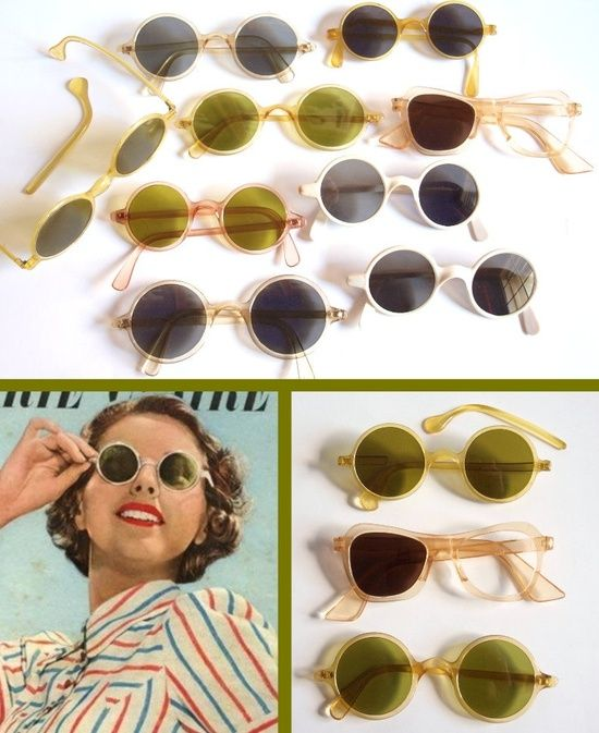ON HOLD for Effie --- was 85 --- LOT of very rare 1930s 1940s Art Deco Vintage Sunglasses from Germany - Repair Study