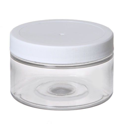 6 Clear Low Profile 4 Oz Jars PET Plastic Empty Cosmetic Containers, White  Caps,