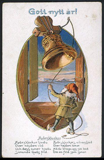 Nyårskort av Jenny Nyström. Från 1920-talet.