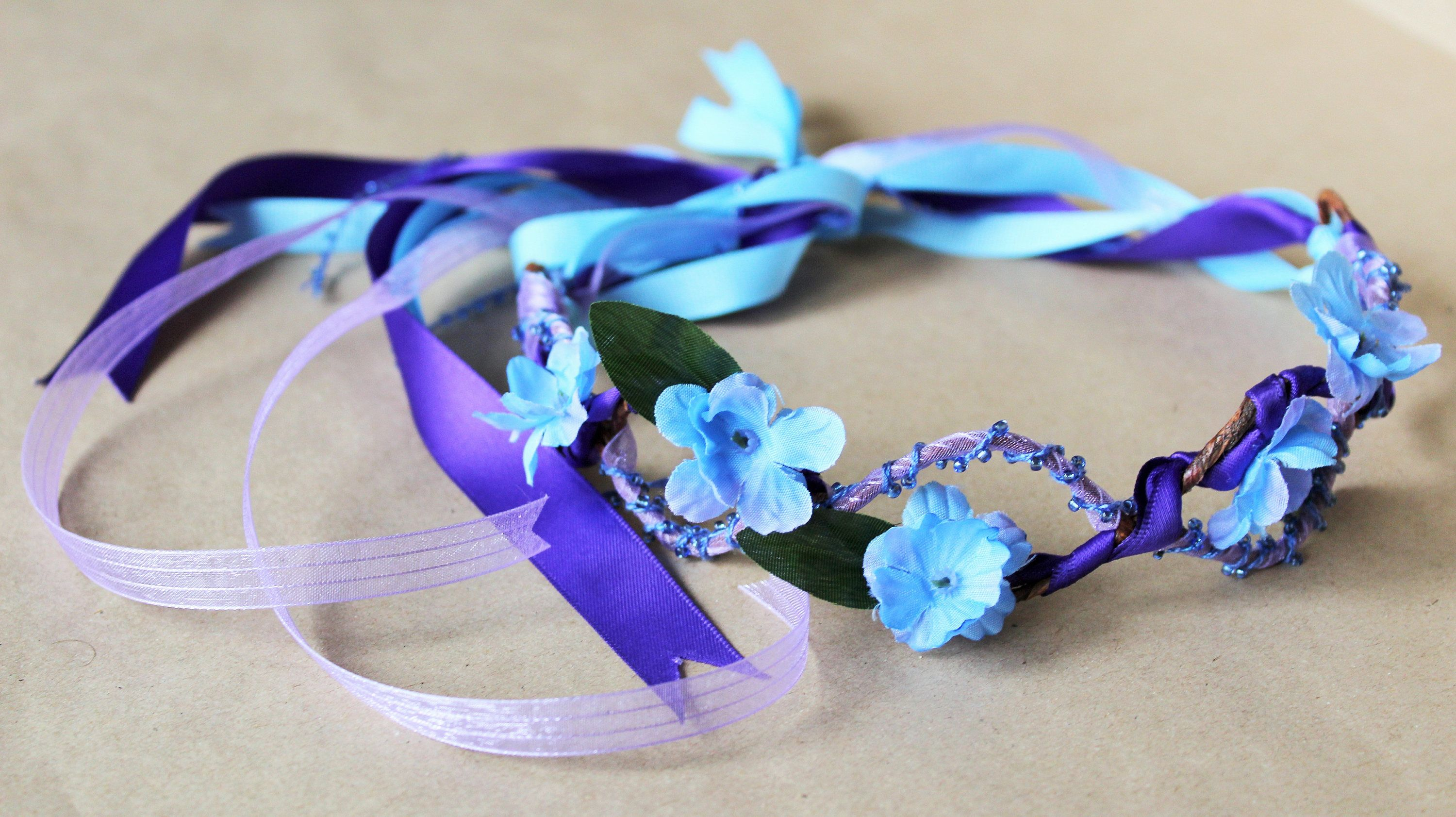 Royal Purple Beaded Headband With Blue Flowers For Portrait
