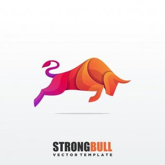 Abstract Bull Colorful Premium Vector Template Pet Logo Design Typographic Logo Branding Design Logo