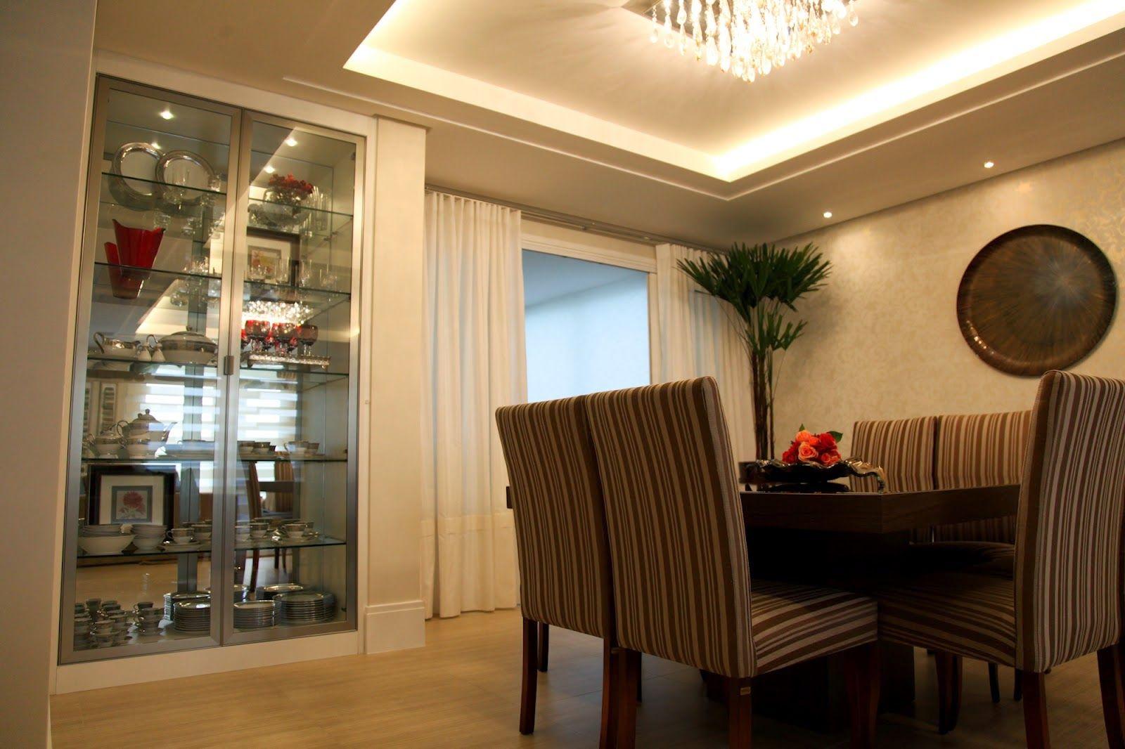 Sala De Jantar Decorada Lustre Embutido Decora O Pinterest  -> Lustres Para Sala De Apartamento Pequeno
