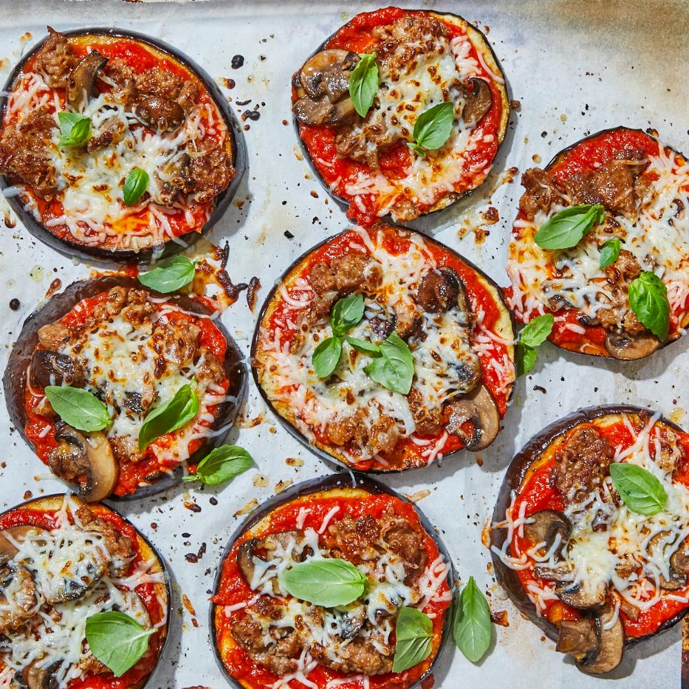 Low Carb Eggplant Pizzas Recipe Eggplant Pizza Recipes Eggplant Pizzas Recipes