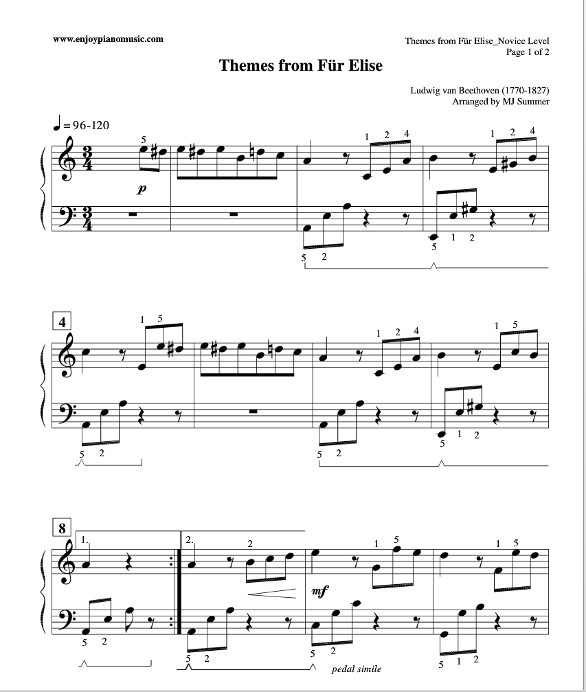 Fur Elise Sheet Music Notated In A Much Easier-to-read