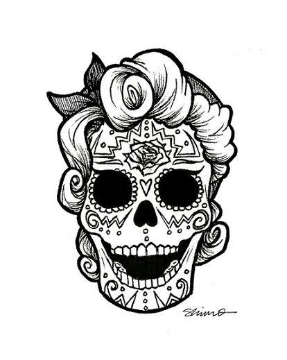 rockabilly day of the dead | day of the dead, draw, illustration, rockabilly, skull - inspiring ...