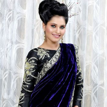 7c35a66f9d39ee Dark Purple and Cream Velvet and Net Saree with Blouse | Indian ...