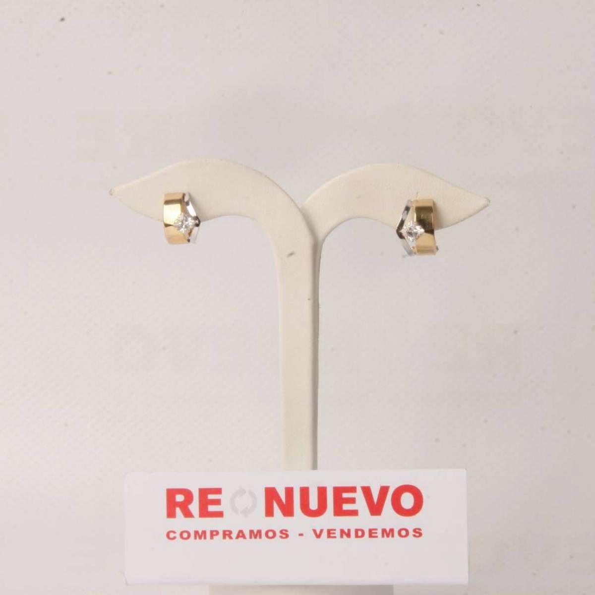 Pendientes de oro bicolor con circonitas de segunda mano E275281A | Tienda online de segunda mano en Barcelona Re-Nuevo