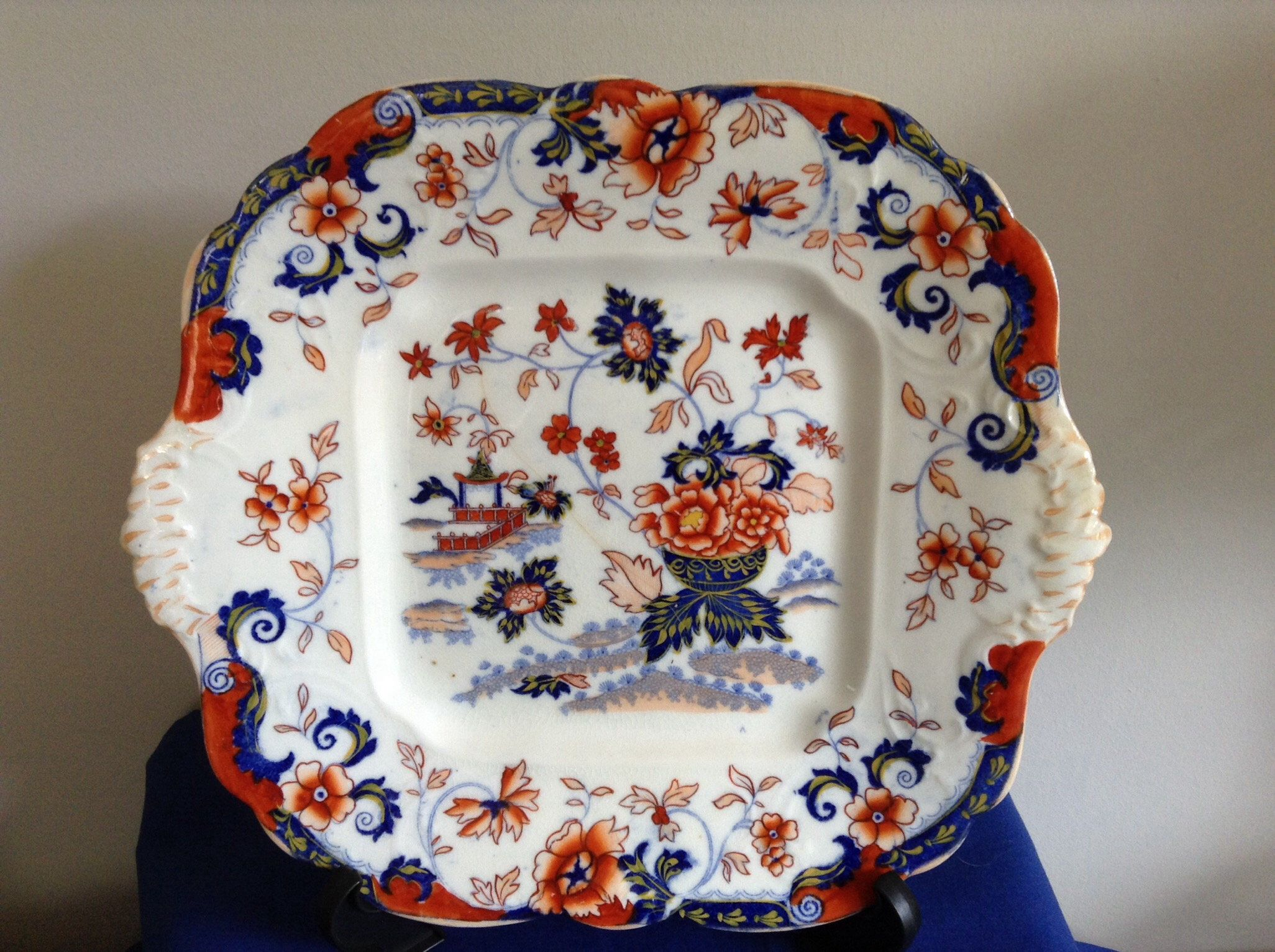 Antique Minton Amherst Japanese Cake Plate with side