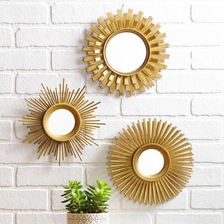 Better Homes Gardens 3 Piece Round Sunburst Mirror Set In Gold Finish Walmart Com Gold Wall Decor Sunburst Mirror Wall Small Wall Mirrors