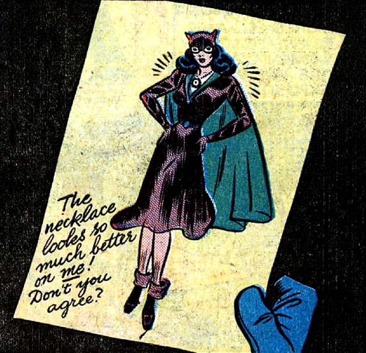 She left this drawing of herself. —Batman #47 (1948) words by Bill Finger, art by Bob Kane, Lew Schwartz & Charles Paris