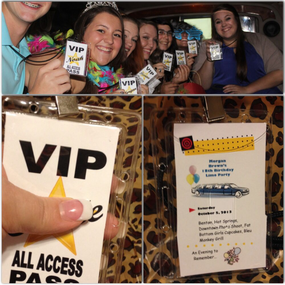 18th Birthday Limo Party All Access Lanyards With Guests