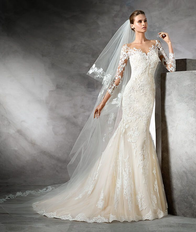 Ovias Tibet Long Sleeve Ace Wedding Dress Ed And Flare Champagne