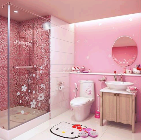 f3ae819d5d40 lol if I was single my bathroom sure would look like this. Girl s bathroom Hello  Kitty ...