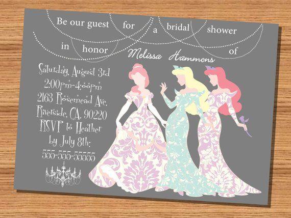 e0261d45b799 Princess wedding shower invitation Disney Princesses Silhouette Bridal  Shower Invitation (5x7)
