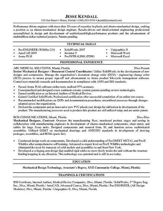 Mechanical Engineering Resume Samples For Design Engineers
