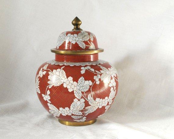 Asian Antiques Vintage Chinese White Cloisonne Urn~ginger Jar~vase With Lid Brass Enamel Asian Antiques