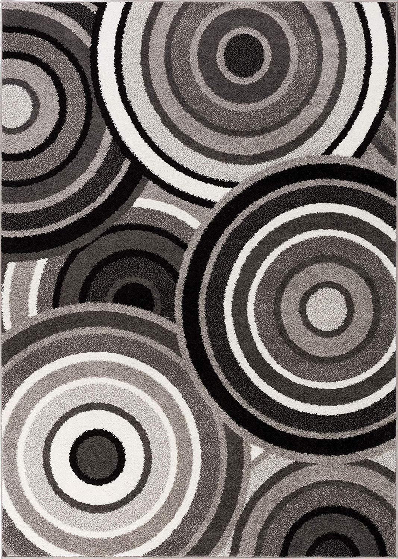Abstract Grey Black Circles Area Rugs - 3'3\ x 5'