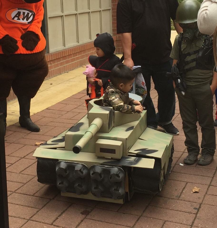 my son conor the tank commander with his cardboard box tank with my