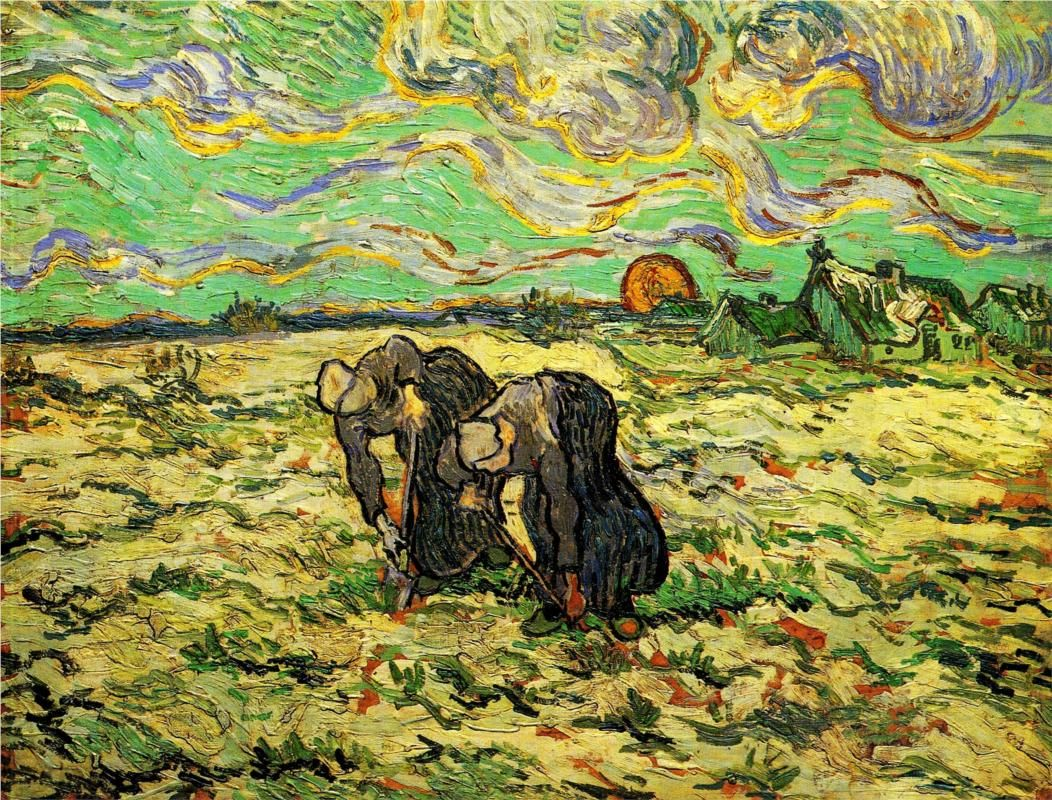 Two Peasant Women Digging in Field with Snow - Vincent van Gogh