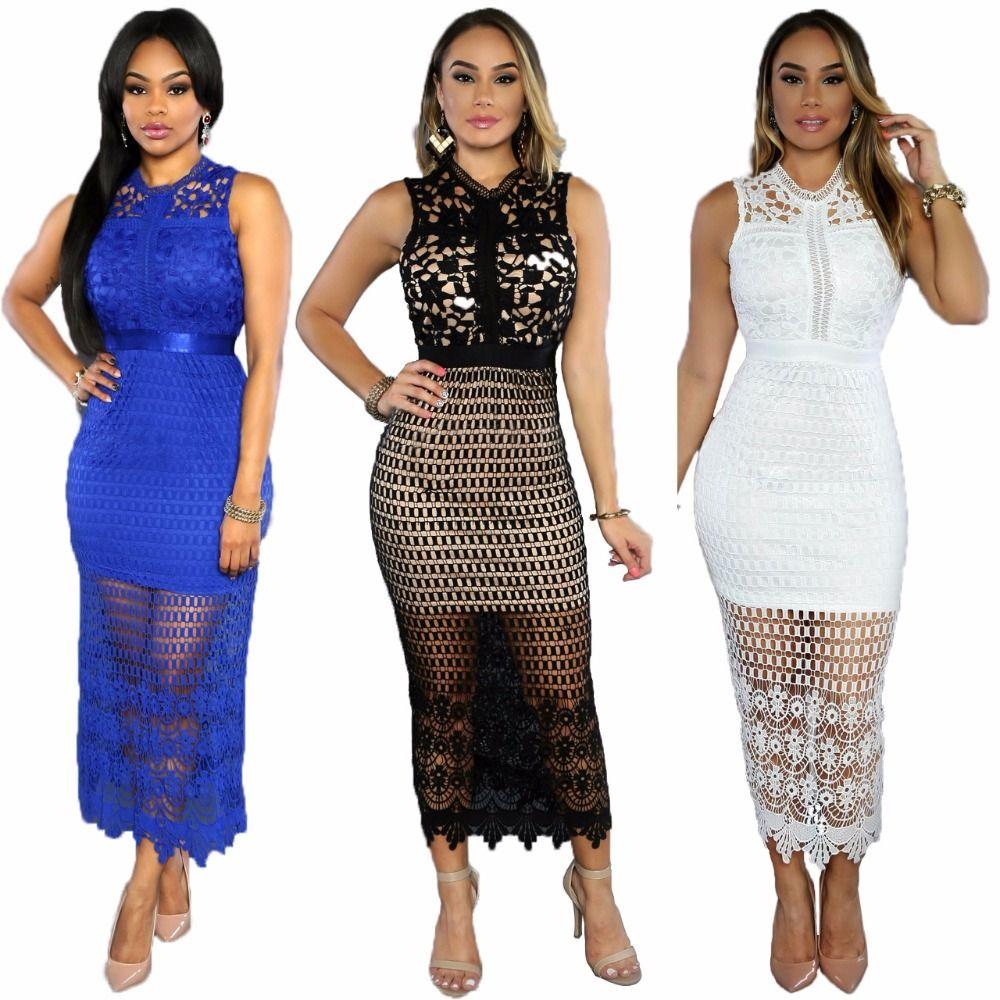 Sexy Hollow Lace Dress Party Maxi Women Dresses Plus Size Long ...