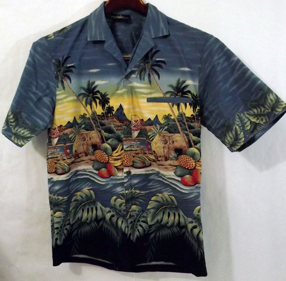 daee8f26 NWOT Men's Royal Creations S 100% Cotton Blue Floral Tiki SS Hawaiian Shirt