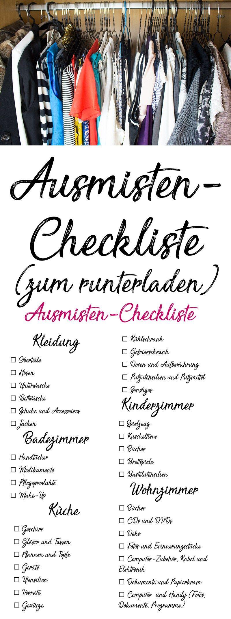 Ausmisten Checkliste so kannst du mit System ausmisten ...