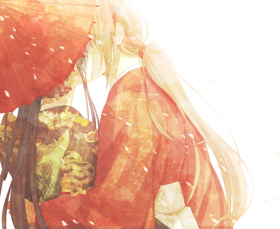 Kaoru and Kenshin. A kiss shared under the umbrella. 慎ちゃん ...