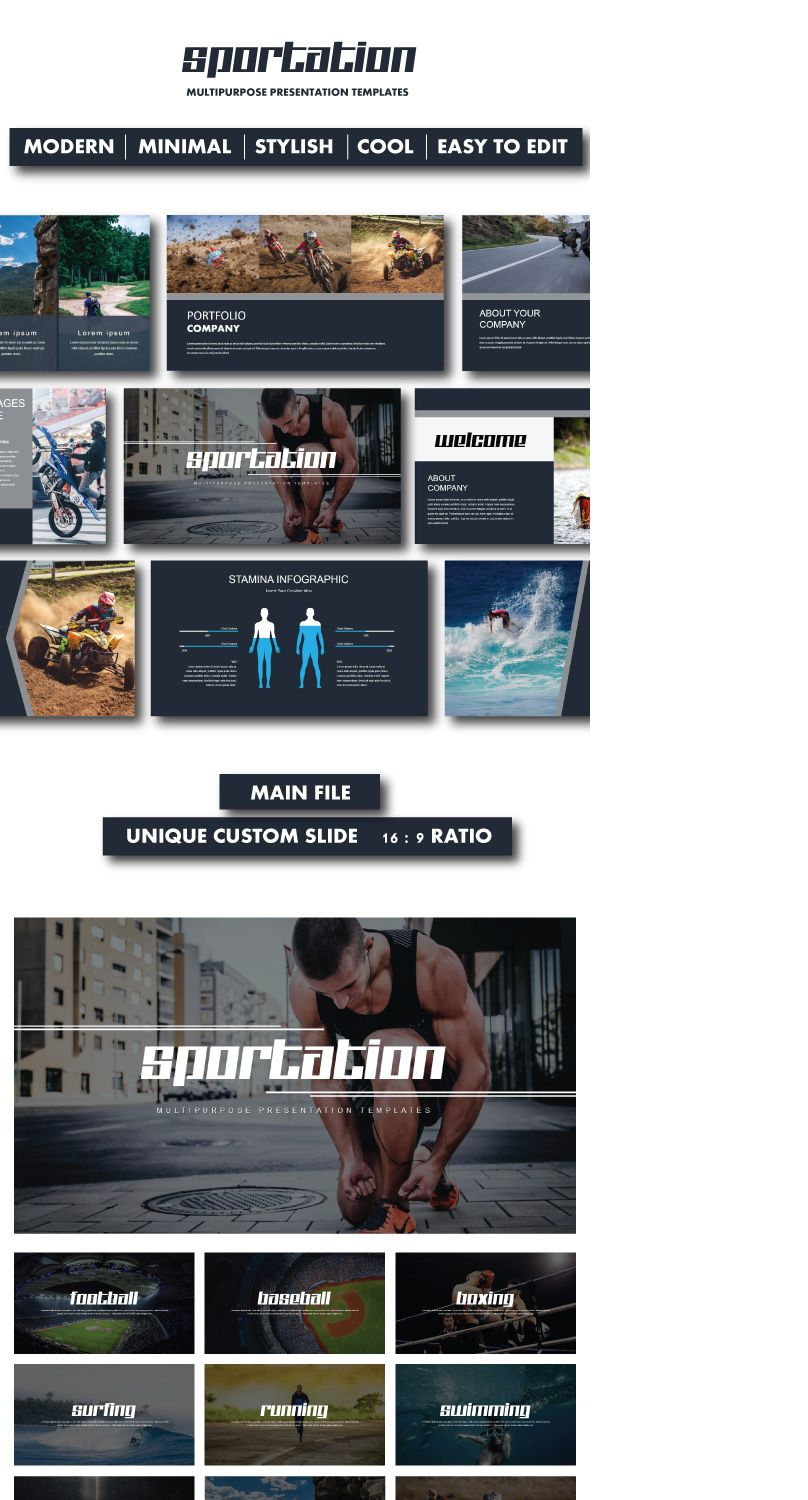 "Check out my @Behance project: ""Sportation Google Slide Templates ..."