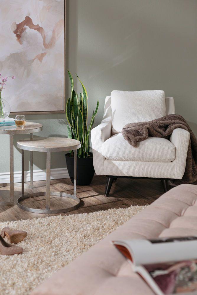 Mid Century Modern 31 Swivel Chair in White Family room