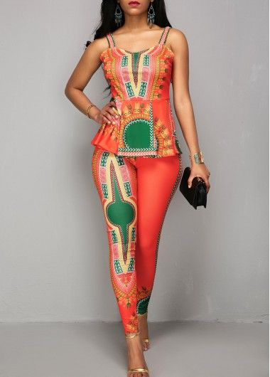 0d45f93a153 Dashiki Print Overlay Embellished V Neck Orange Jumpsuit