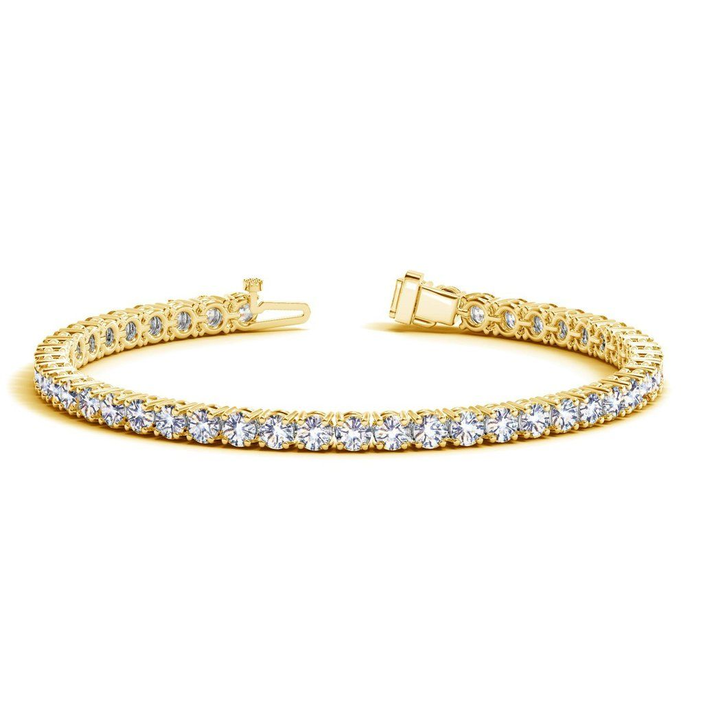 10 Carat Classic Round Diamond Tennis Bracelet 14k Yellow Gold Value Collection Tennis Bracelet Diamond Yellow Gold Round Diamond Silver Diamonds