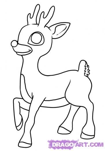 Step 6. How to Draw Rudolph the Red Nosed Reindeer | Inspirational ...