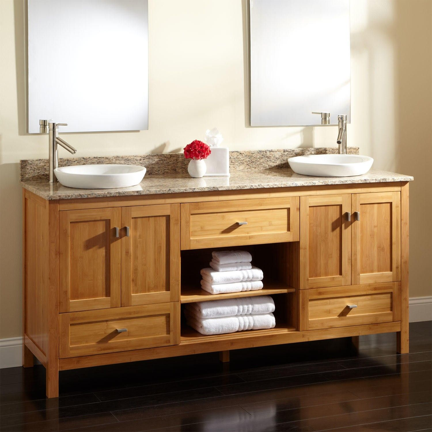 Bathroom Bathroom Vanity Cabinet Debgan Place A Towel And Two Large Mirrors  There Is Also A Place Of Flowers And A Box Of Kleenex Bathroom Vanity  Cabinet Is. 72  Alcott Bamboo Double Vanity for Semi Recessed Sinks   Bathroom