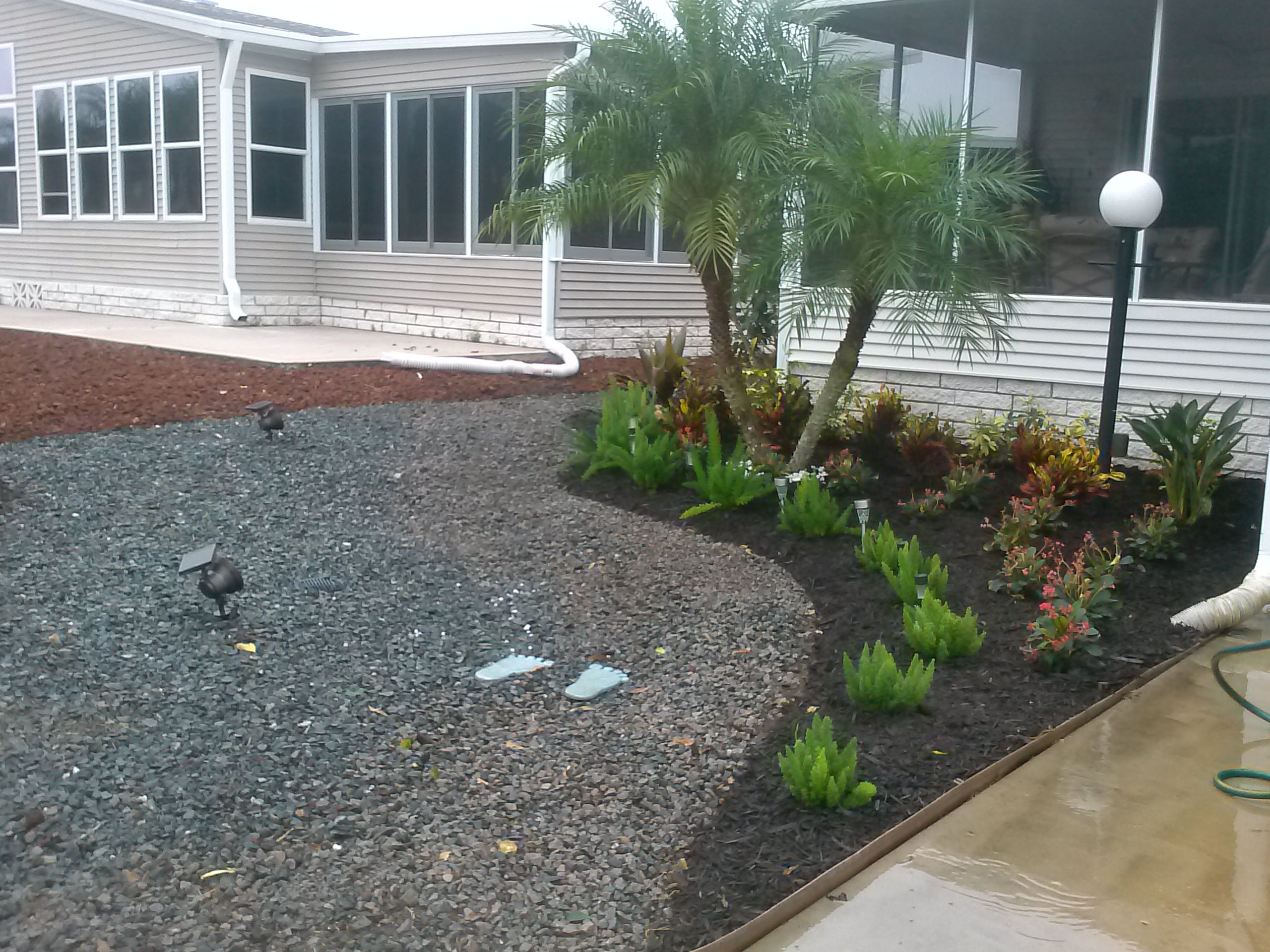 Combination Of Black Mulch And Crushed Gravel Colorful Plants