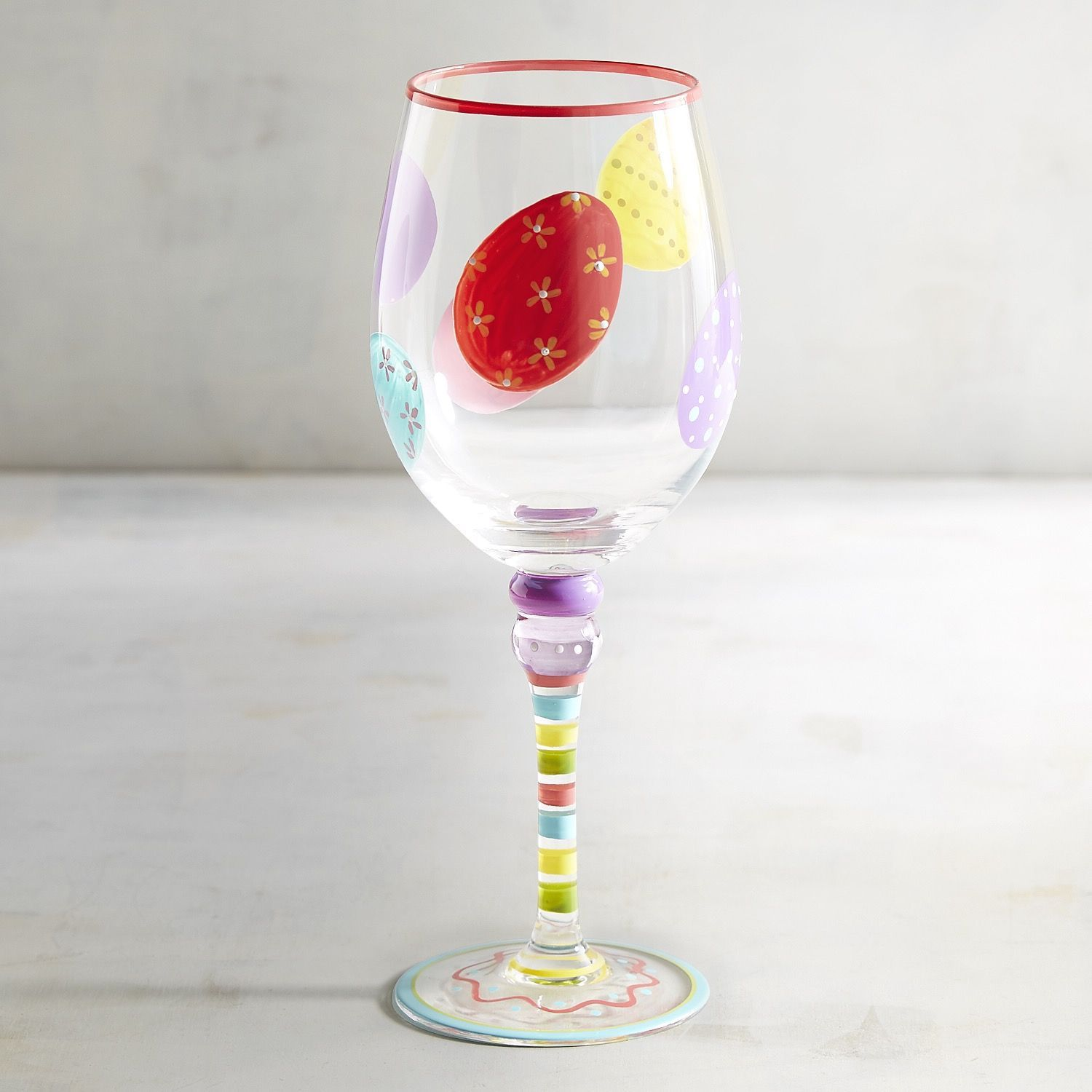 Easter Egg Painted Wine Glass | Painted wine glass, Easter