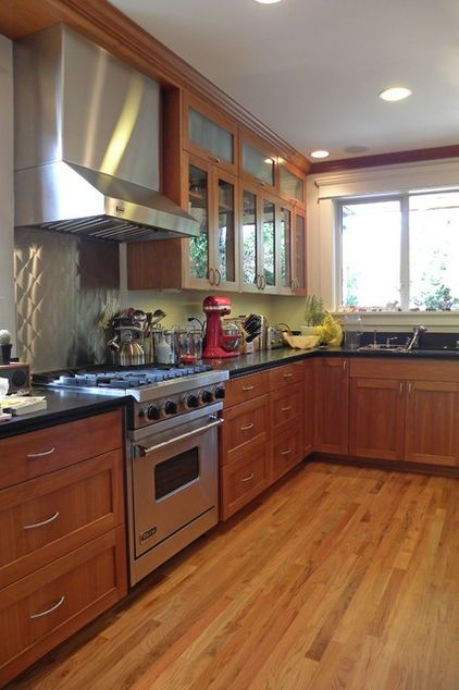 Kitchen Ideas Grey Counter Tops Warm Wood Cabinets With Glass