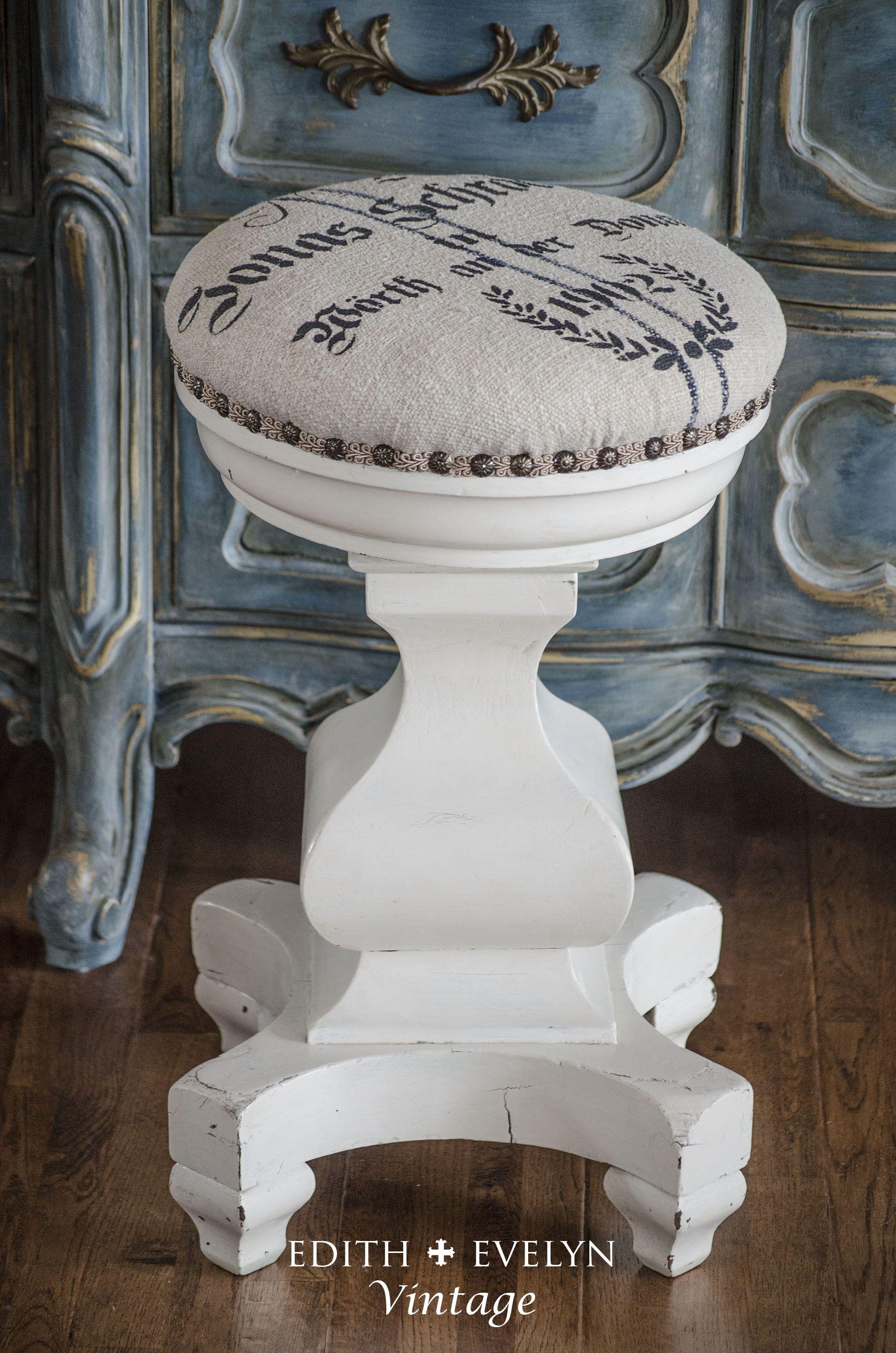 Grain sack upholstered piano stool.   Stools   Pinterest