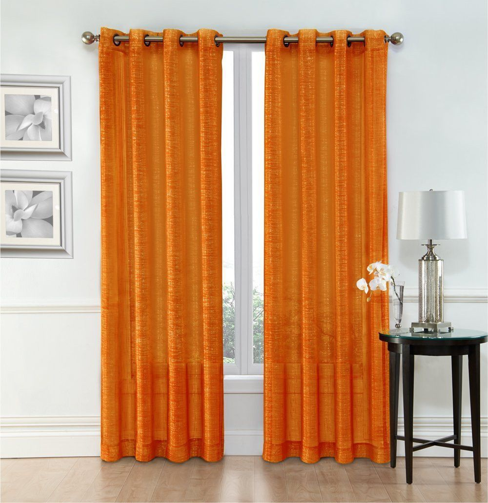 Sheer window curtain grommet panels