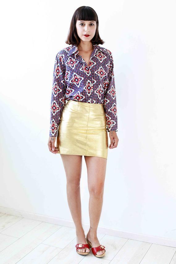 46163f09d Vintage Gold Leather Mini Skirt XS, 90s Fitted High Waist Mini Leather Skirt,  Metallic Leather Peti