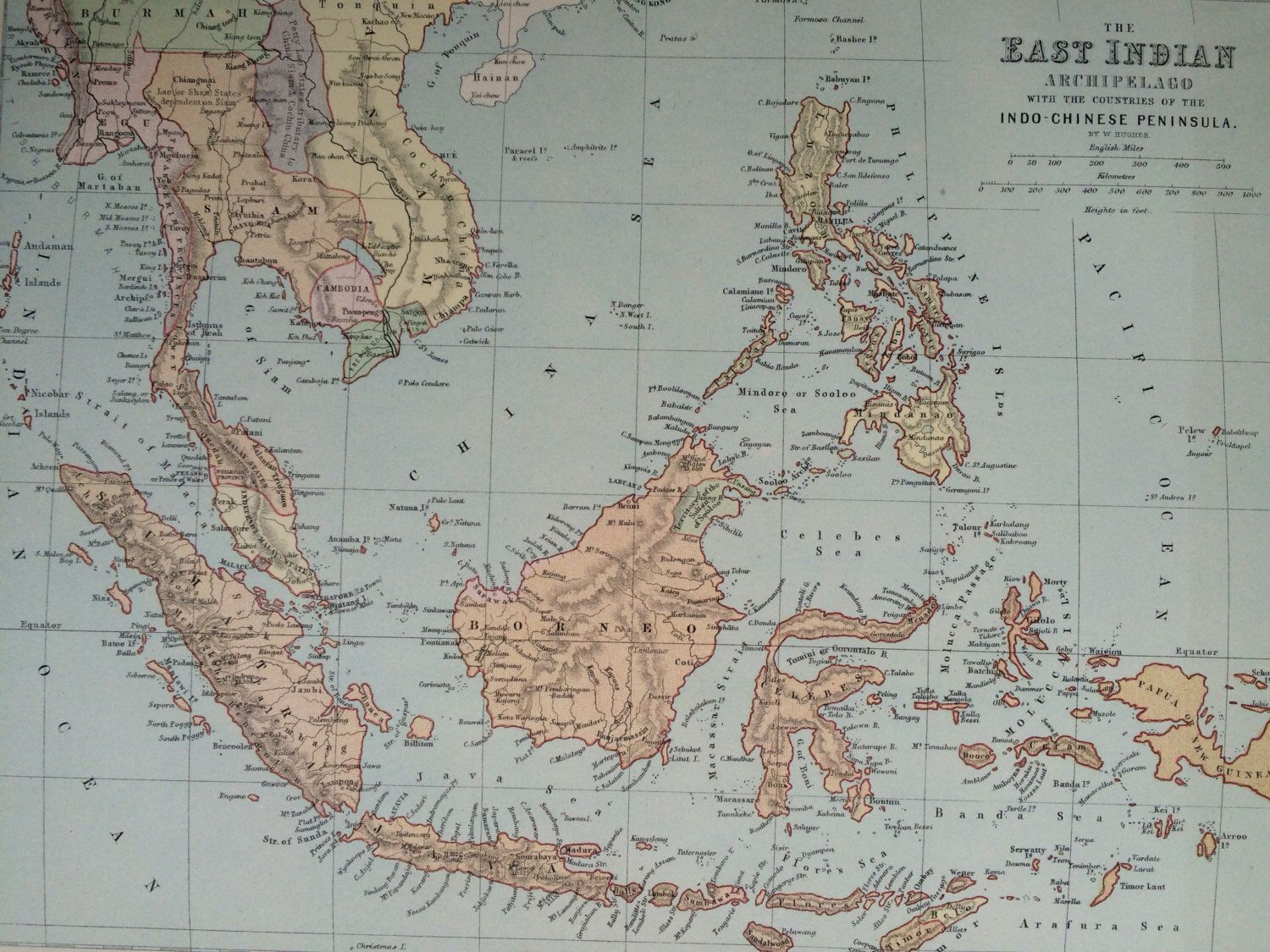 South East Asia Original Antique Map 10 5 X 13 5