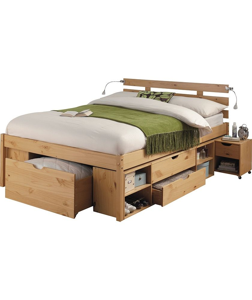 Buy ultimate storage double bed frame pine effect at for Double bed with storage and mattress
