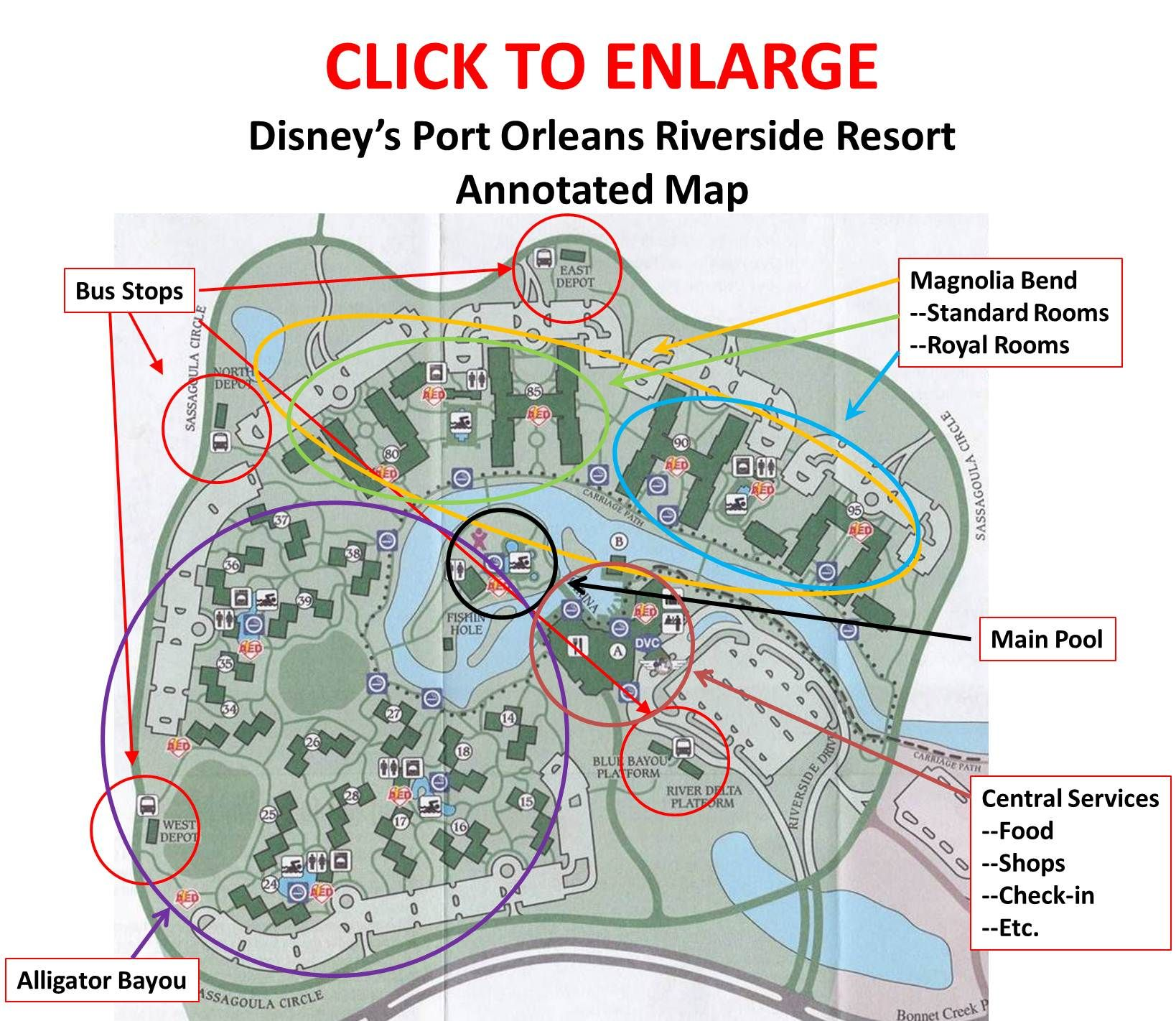 Annotated Map Of Disneys Port Orleans Riverside Resort